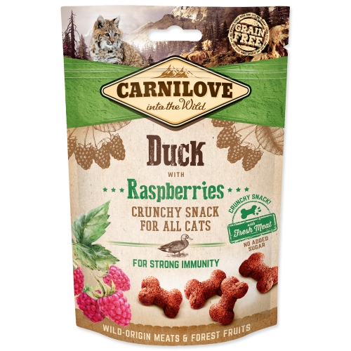 CARNILOVE Cat Crunchy Snack Duck with Raspberries with fresh mea