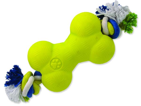 Hračka DOG FANTASY Strong Foamed kost gumová s provazem 13,9 cm