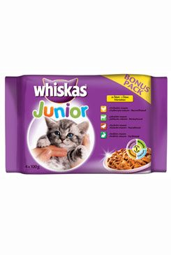 Whiskas kapsa Junior masový výběr ve šťávě 4x100g